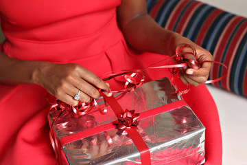 Unwrapping christmas gift