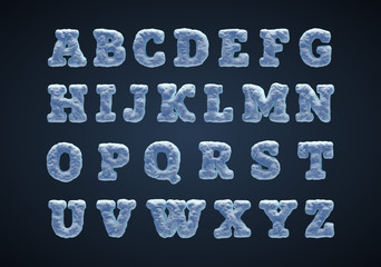 Blue snowy alphabet, serif type.