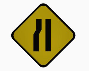 Verkehrszeichen USA: Einseitig links verengte Fahrbahn, auf weiß isoliert, 3d rendering