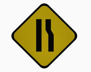 Verkehrszeichen USA: Einseitig rechts verengte Fahrbahn, auf weiß isoliert, 3d rendering