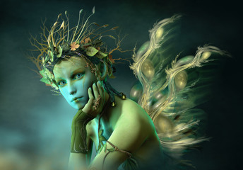Little Forest Sylph, 3d CG Wall mural