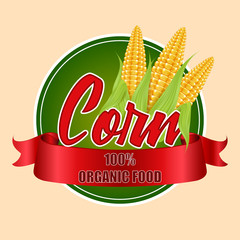 Round label or sticker with corn cobs. Vector illustration of organic products.