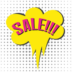 Speech bubble with colorful text SALE.