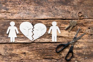divorced couple and children near a broken heart