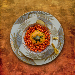 Place setting, plate with pumpkin and berries