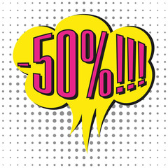 Speech sale bubble with text -50%.