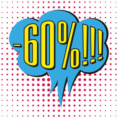 Speech sale bubble with text -60%.