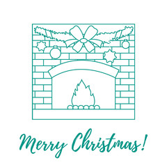 Vector illustration with kindled fireplace, garland, Christmas balls and stars.