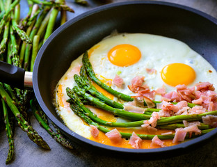 Fried eggs with asparagus and ham on a dark stone board