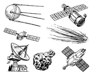 space shuttle, radio telescope and comet, asteroid and meteorite, astronaut exploration. engraved hand drawn in old sketch, vintage style for label. flying ship. rocket launching to the sky.