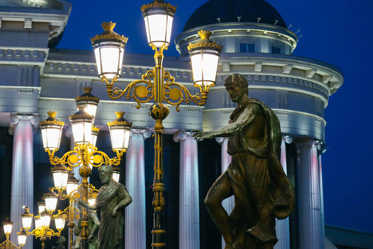 Skopje, Macedonia, Art Bridge at Night. European city architecture, famous bridge with sculptures.