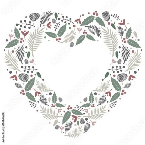 Christmas Heart Vector.Christmas Heart Frame Flat Composition Stock Image And