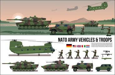NATO Army war military set with tank, helicopter, troopers soldiers, armored car, carrier in forest camouflage & battle scene nature landscape flat design in vector poster, banner isolated collection