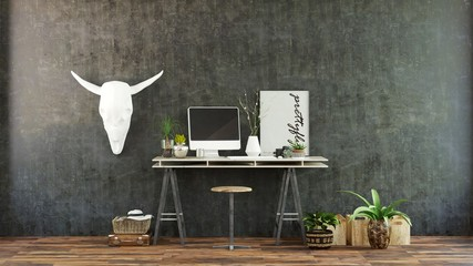 Unusual modern office interior with cattle skull