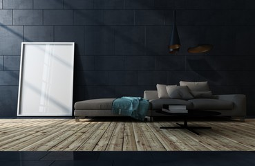 Low dark brown sofa against a black tiled wall