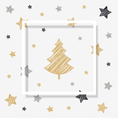 christmas tree stars scribble card shadow frame drawing background