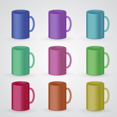 Set of coffee cups, classic cylinder shape mugs isolated on white. Multicolor collection of beverage containers with empty space for branding.