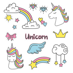 Cute magic set with unicorn, rainbow, fairy wings, clouds. Vector collection of trendy stickers, pins, patches.