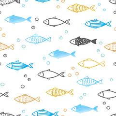 Seamless vector blue, golden, black fish pattern.