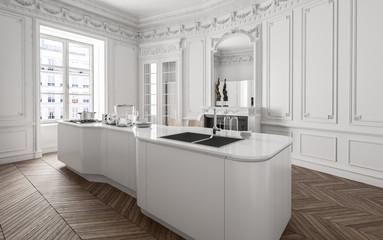 Moderne Küche in Weiss in Altbauwohnung
