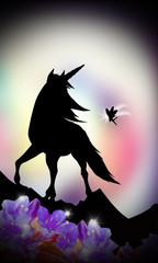 Unicorn and fairy fantasy silhouette art