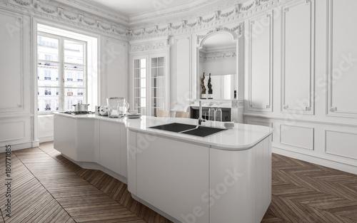 Moderne k che in weiss in altbauwohnung zdj stockowych for Altbauwohnung design
