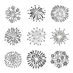 Set of hand drawn fireworks isolated on white background.