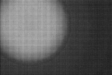 Abstract futuristic halftone pattern. Comic background. Dotted backdrop with circles, dots, point sall scale Black and white color