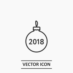Outline christmas tree bauble decoration icon illustration vector symbol