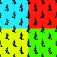 Pine tree seamless pattern set on colors backgrounds. Simple illustration of pine tree vector pattern for web eps