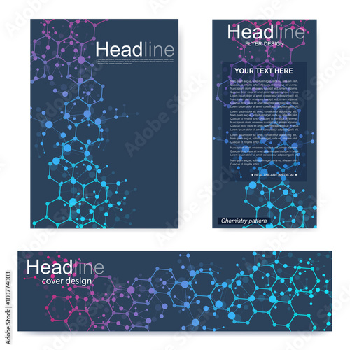 set flyer brochure size a4 template banner molecular structure