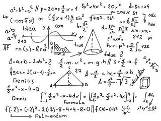 Verschiedene Formeln schwarz auf weiss.