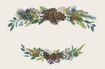 Winter set. Floral christmas compositions. Evergreen, cone, succulents, flowers, leaves, berries. Botanical vector vintage illustration. Colorful