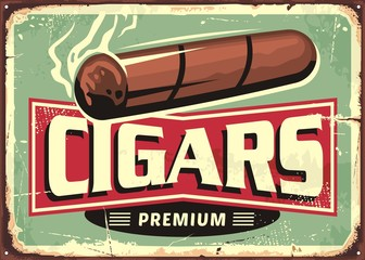 Cigars  store retro sign design template