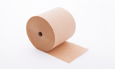 Paper roll mock up isolated on white background. Blank white packaging kitchen towel, toilet paper roll, cash register tape, thermal fax roll. Paper roll template