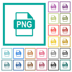 PNG file format flat color icons with quadrant frames