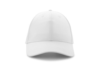 Baseball cap white templates, front views isolated on white background