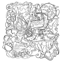 Line art in the middle age, vector illustration isolated on white background, can be used for some coloring book