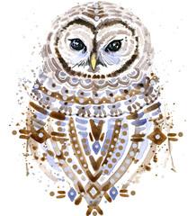 Owl watercolor illustration.