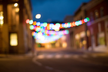 Street Christmas Lights Night Bokeh