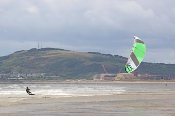 kitesurfer in Swansea Bay