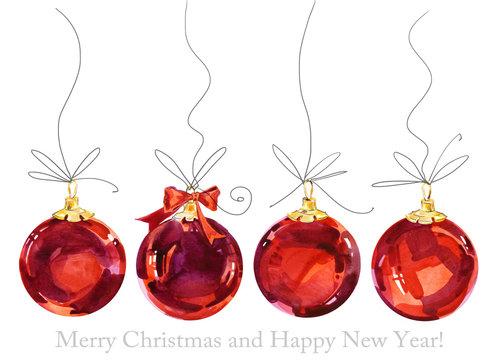 christmas greeting card. christmas ball. New Year watercolor background. Christmas banner.