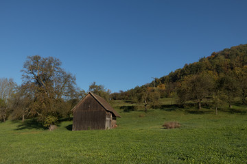 Old wooden barn in the German hillside