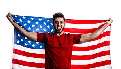 American athlete / fan celebrating on white background