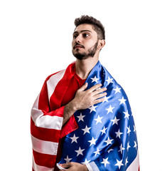 American athlete / fan on white background