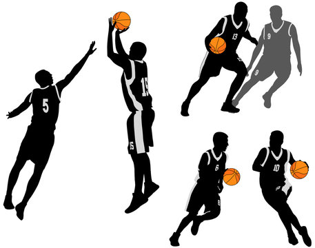basketball players silhouettes collection 2 - vector