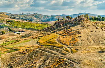 Sicilian landscape at the Valley of the Temples, Italy