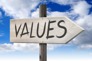 Values - wooden signpost with one arrow
