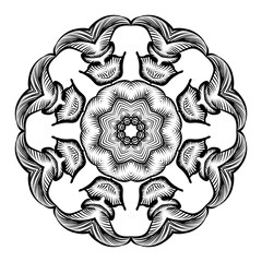 Creative mandala design.  Black and white mandala. Hand drawn element. Anti-stress coloring page for adults