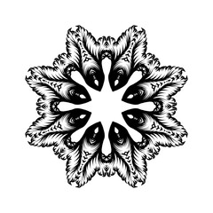 Creative mandala design.  Black and white mandala. Hand drawn element. Anti-stress coloring page for adults